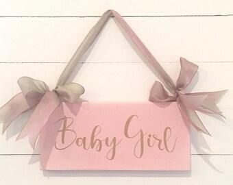 Baby Girl Wood Sign 10.5 x 5