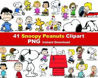 41x  Peanuts snoopy Cartoon Clipart PNG printable Digital Graphic Instant Download