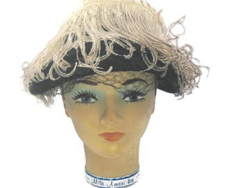 Awesome Vintage Oestrich Feather Hat