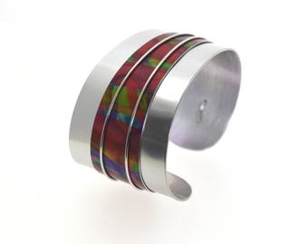 Aluminum bracelet, light weight, unique, original and colorful, handmade, multicolor