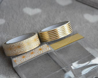 2 ribbons adhesive metallic gold geometric patterned paper