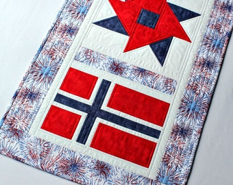 Patriotic Table Runner Quilted, Norway May 17th, Norwegian National Day, Red White Blue, Norwegian Flag, Table Quilt, Quiltsy Handmade