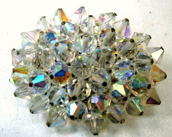Swarovski Crystal Pin, Rainbow Bead Flower Brooch, Aurora Borealis Incredible Sparkle OVAL Brooch, 1960s HOT Firey ICE