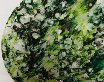 ON SALE! Fused Glass Boiled Green Frenzy Platter