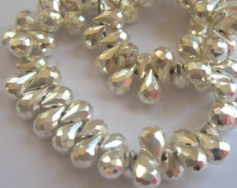 1/2 Strand of Gorgeous Silver Pyrite Faceted TearDrop Briolette Beads 6mm-8mm semi precious gemstones