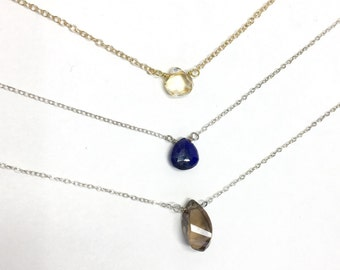 Sterling Silver Or Gold Filled Solitaire Necklace With Choice Of Bead And Chain
