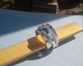 Hammered spinner ring with opal triplet, hammered silver spinner ring, spinner ring with opal triplet,silver spinner ring
