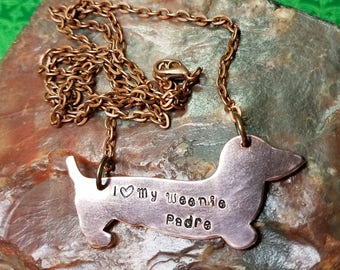 I Love My Weenie - Personalized Hand-Stamped Copper Dachshund Weenie Dog, Doxie, Dachsie, Wiener dog NECKLACE