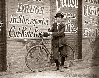 Vintage Photo Delivery Newsboy - Shreveport, LA - Drug Store - Cigars - Old Photo Print