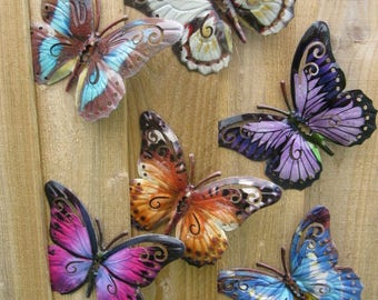 Garden Butterfly Wall Art SET OF SIX Garden Butterfly Ornaments