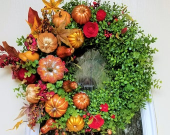 """23"""" Fall Boxwood Wreath with Glittery Pumpkins, Squash, Flowers & Fall Leaves Display Front Door Wreath"""