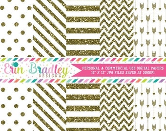 80% OFF SALE Gold Glitter Digital Paper Pack Commercial Use Digital Scrapbook Papers Polka Dots Stripes Chevron and Arrows
