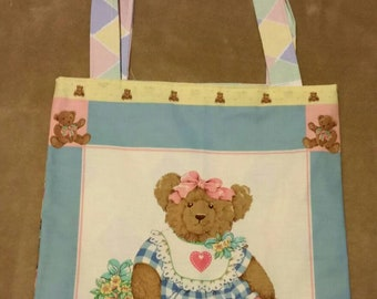 tote  bag handmade girl  bear shopping bag book bag  reusable grocery bag