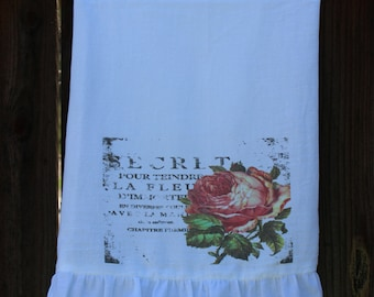 Shabby Chic, Cottage, French, Farmhouse, Flour Sack Towel, Kitchen Towel. (grungy rose)