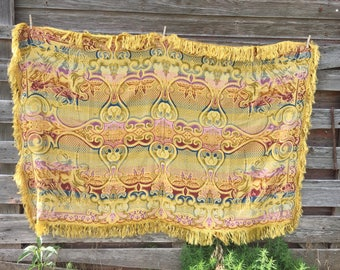 Vintage Italy Fringed Tablecloth Bedspread Coverlet MiddleEast Horse Rider Gold