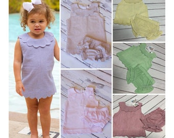 Girls Monogram Scallop Bloomer Set - 6 colors - from DBA Blanks