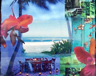 Come Away With Me, Giclee, 8x8 and Up, travel, romance, orchids, sea turtles, lanterns, ocean, wall art, surf, shells