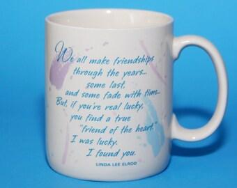 Hallmark Mug, Cup 1988 Vintage, Sentiment Friendship, Linda Lee Elrod