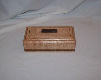 Small wooden box Birds Eye Maple with Walnut inlay 4x8  Box Handcrafted Keepsake Box