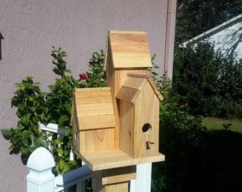 Unpainted Country Condo Birdhouse, Outdoor Birdhouse, Cyprus Birdhouse, Garden Decor