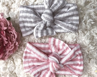 Baby Headband, Stripe Headband, Baby Photo Prop, Top Knot Headband