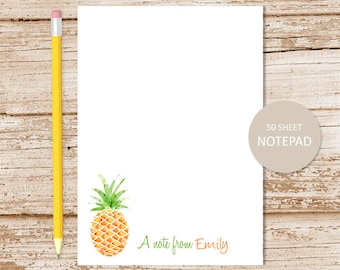 personalized notepad . pineapple notepad . watercolor pineapple note pad . tropical fruit . personalized stationary . stationery gift
