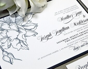Black and White Wedding Invitation Suite, Floral Wedding Pocket Invitation, Calligraphy Wedding Invites, Modern Wedding Invitations Formal