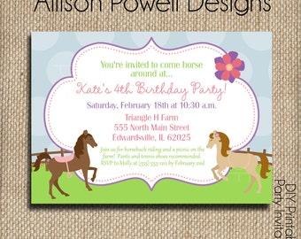 Horse - Horseback Riding - Pony - Custom Printable DIY Invitation