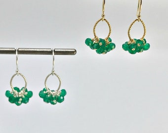 Green Onyx  Cluster Earrings May Birthstone Delicate Earrings Dangle Earrings Dainty Earrings Green Earrings