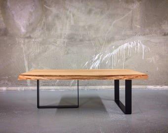 Live edge Elm Coffee table on U-form legs