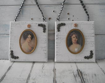 pair cameo art mixed media art shabby wall decor pair canvas collage cameo pictures french country victorian decor cottage chic petite art