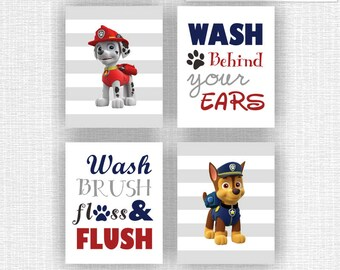 CANVAS or PRINTS Paw Patrol Bathroom Wall Decor Set of 4, Wash Brush Floss Flush, Wash behind your ears, Paw Patrol Baby Bathroom Wall art