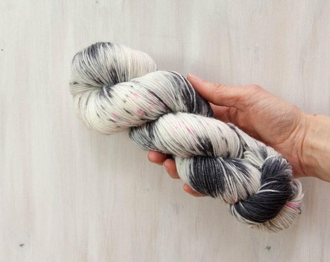 Hand dyed yarn, merino yarn, nylon yarn, sock yarn, hand dyed sock yarn, speckled yarn, grey yarn, pink yarn, fingering yarn