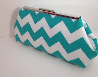 Teal Blue and White Chevron Print Clutch Purse with Silver Finish Snap Close Frame