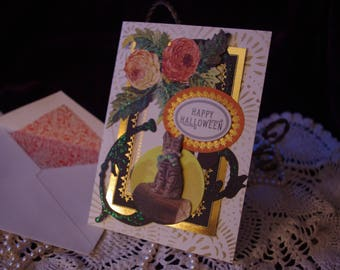 Vintage Style Halloween Handmade Card with Lined Envelope