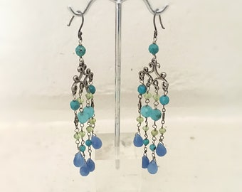Blue quartz chandelier earrings