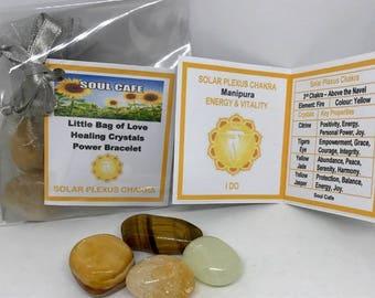 Solar Plexus Chakra Balancing Set -  Healing Crystal Gemstones - Tublestone Set - Citrine, Tigers Eye, Yellow Jade, Yellow Jasper