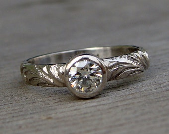 Delicate Moissanite and 950 Palladium Engagement or Wedding Ring - Eco-Friendly Lab Created Cultured Diamond Alternative - Made To Order