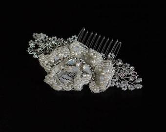Bridal hair piece, Lace headpiece, Wedding Hair comb, Bridal headpiece, Crystal hair comb, Pearl headpiece, Bridal hair accessories,