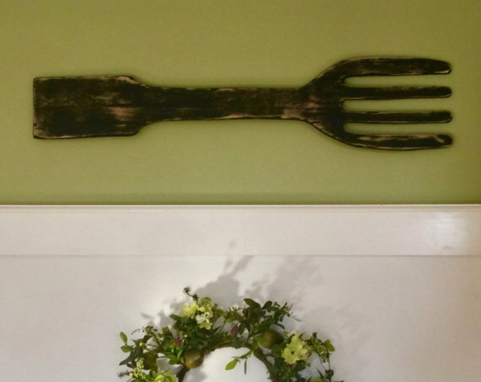 Wooden Fork Decor. Fork and Spoon Wall Decor. Kitchen Decor. Kitchen Signs. Farmhouse Decor. Restaurant Decor. Farmhouse Kitchen Decor.