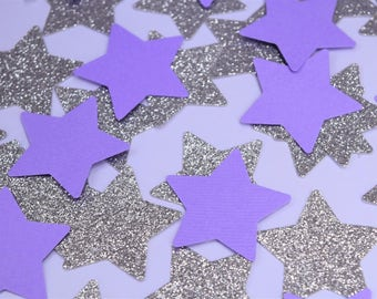 Purple and Silver Star Confetti, Twinkle Twinkle Little Star Decorations, Baby Shower Decorations, Purple Baby Shower, Purple Star Party