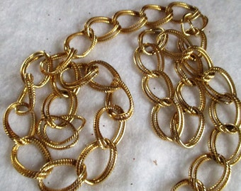 Gold Finish Double Link Chain  34 Inches