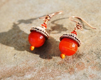 AUTUMN DAZZLE Agate, Crystal and Copper Earrings