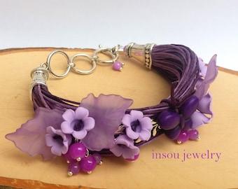 Purple Bracelet, Flower Bracelet, Charm Bracelet, Lilac, Wrap Bracelet, Handmade Bracelet, Wedding Bracelet, Spring Jewelry, Women Gift