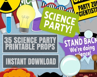 35 Science Party Photo Booth Props, Scientist Themed Photobooth props, mad scientist party ideas, science photo props, scientist party