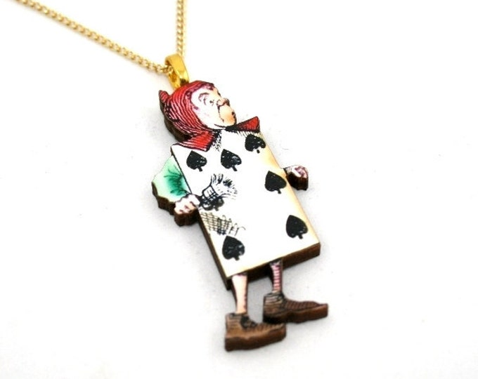 SALE - Playing Card Alice In Wonderland Pendant Necklace