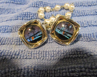 Vintage Butterfly Wing Blue Morpho  Pearl Sweater Guard