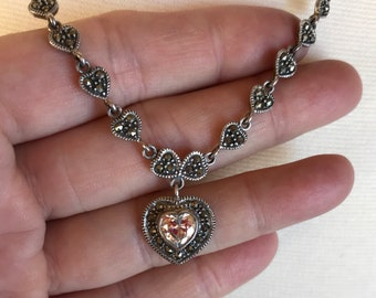 Sterling Marcasite Heart Necklace -- 329