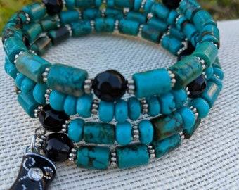 Memory wire bracelet - Turquoise bracelet - Boho Bracelet - Gemstone Bracelet - cowgirl bracelet - beaded bracelet - western bracelet