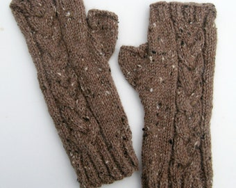Knit Fingerless Texting Cabled Tweed Gloves, Mother's Day Gift